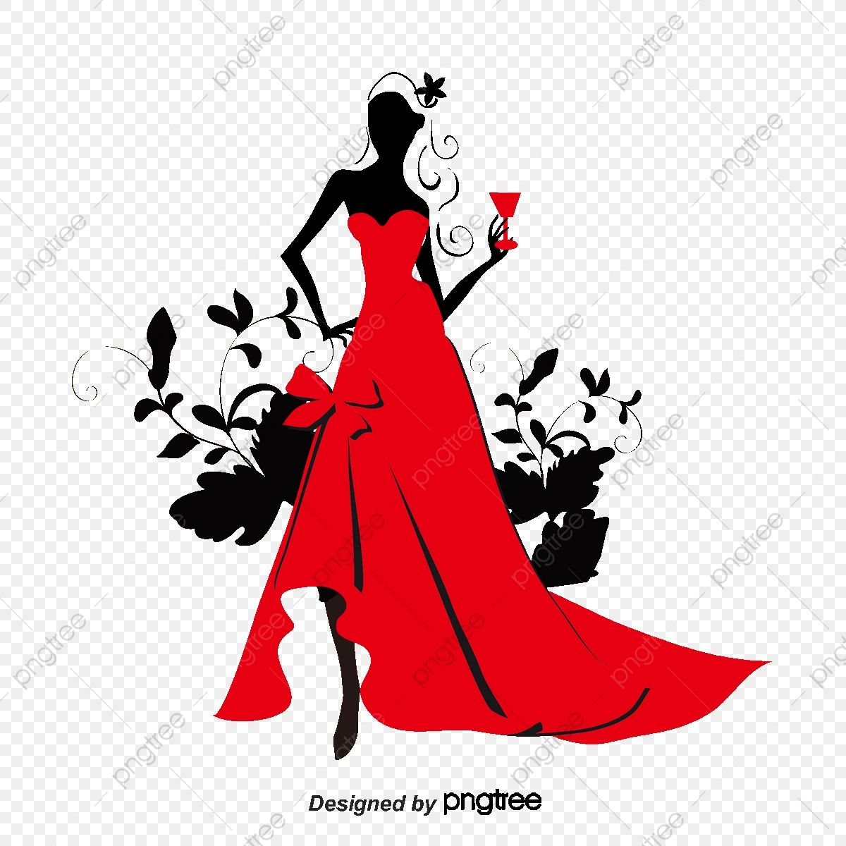 Download This Wearing A Beautiful Red Dress Silhouette Figures Wineglass Beauty Png Clipart Image Wi In 2021 Beautiful Red Dresses Fashion Design Sketches Red Dress