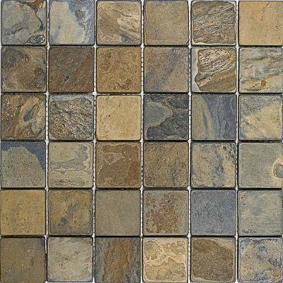 California Gold Tumbled 12x12 2x2 Slate Mosaics 4 30 Pcs Mosaic Flooring Copper Backsplash Mosaic Tiles