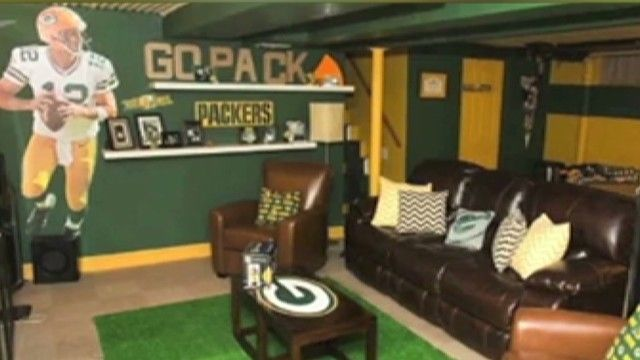 Packer Man Cave Signs : Wife builds husband the ultimate man cave men