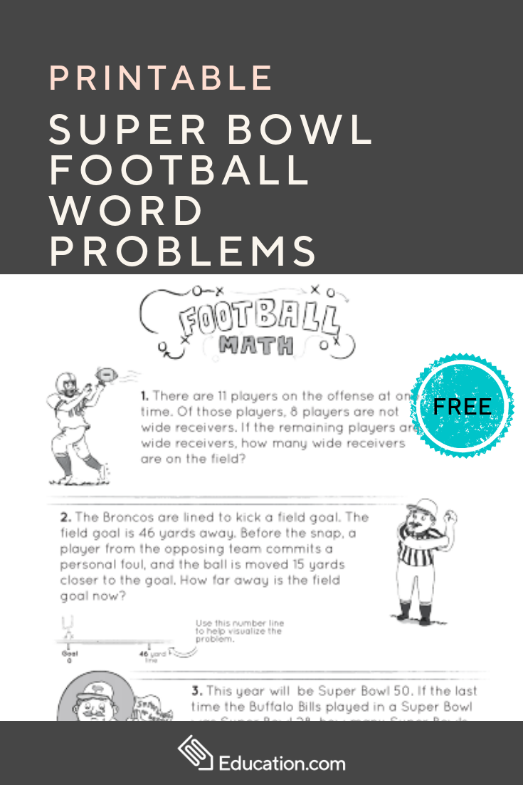 Super Bowl Football Word Problems Getting Ready For The Big Game Download This Free Math Printable Word Problems Word Problem Worksheets Math Word Problems