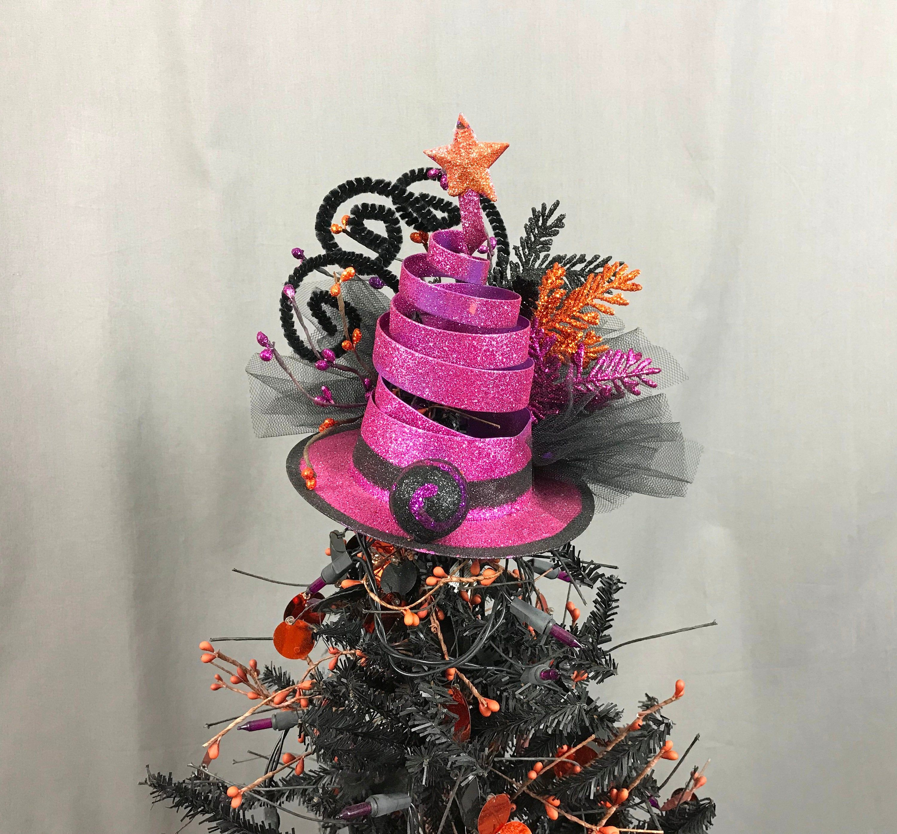 Hot Pink Halloween Tree Topper Witch Hat Tree Topper