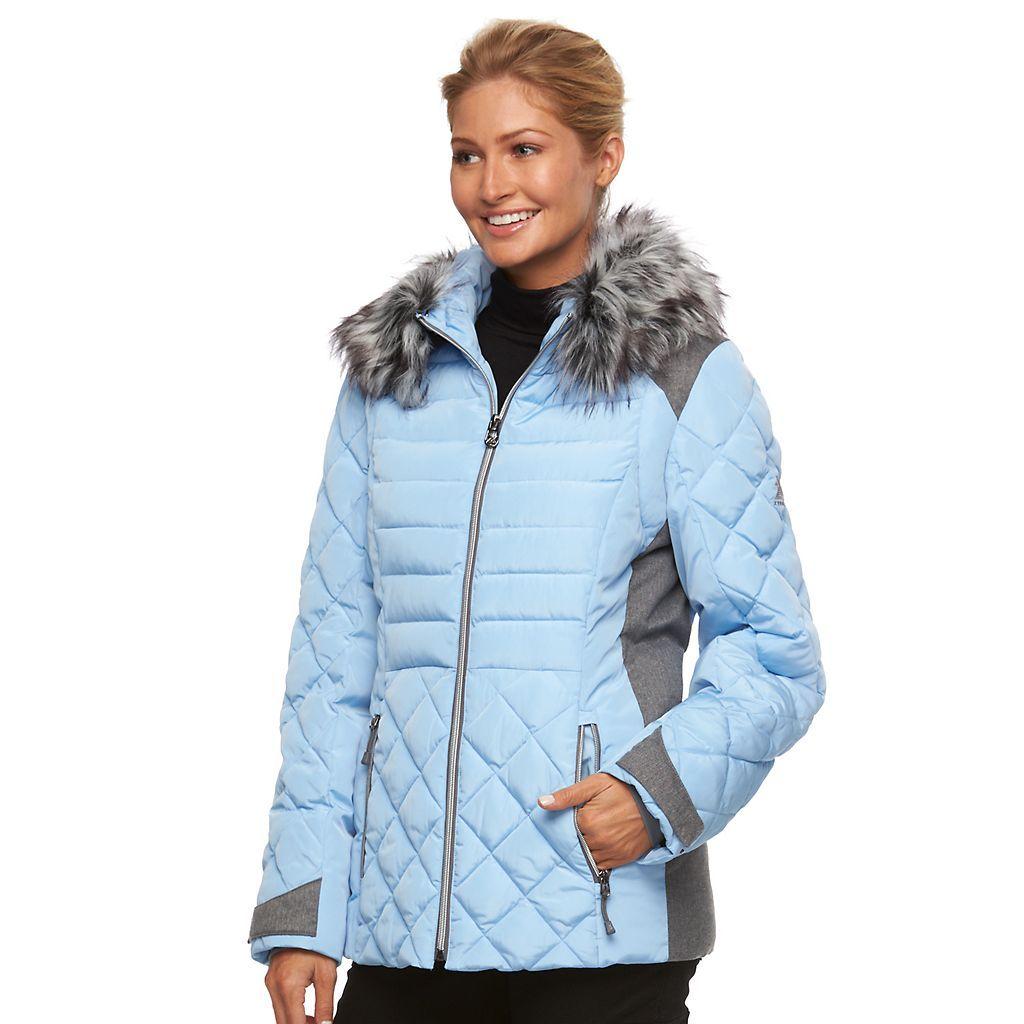Women S Zeroxposur Sabrina Hooded Mixed Media Puffer Jacket Kohls Jackets Jackets For Women Puffer Jackets [ 1024 x 1024 Pixel ]