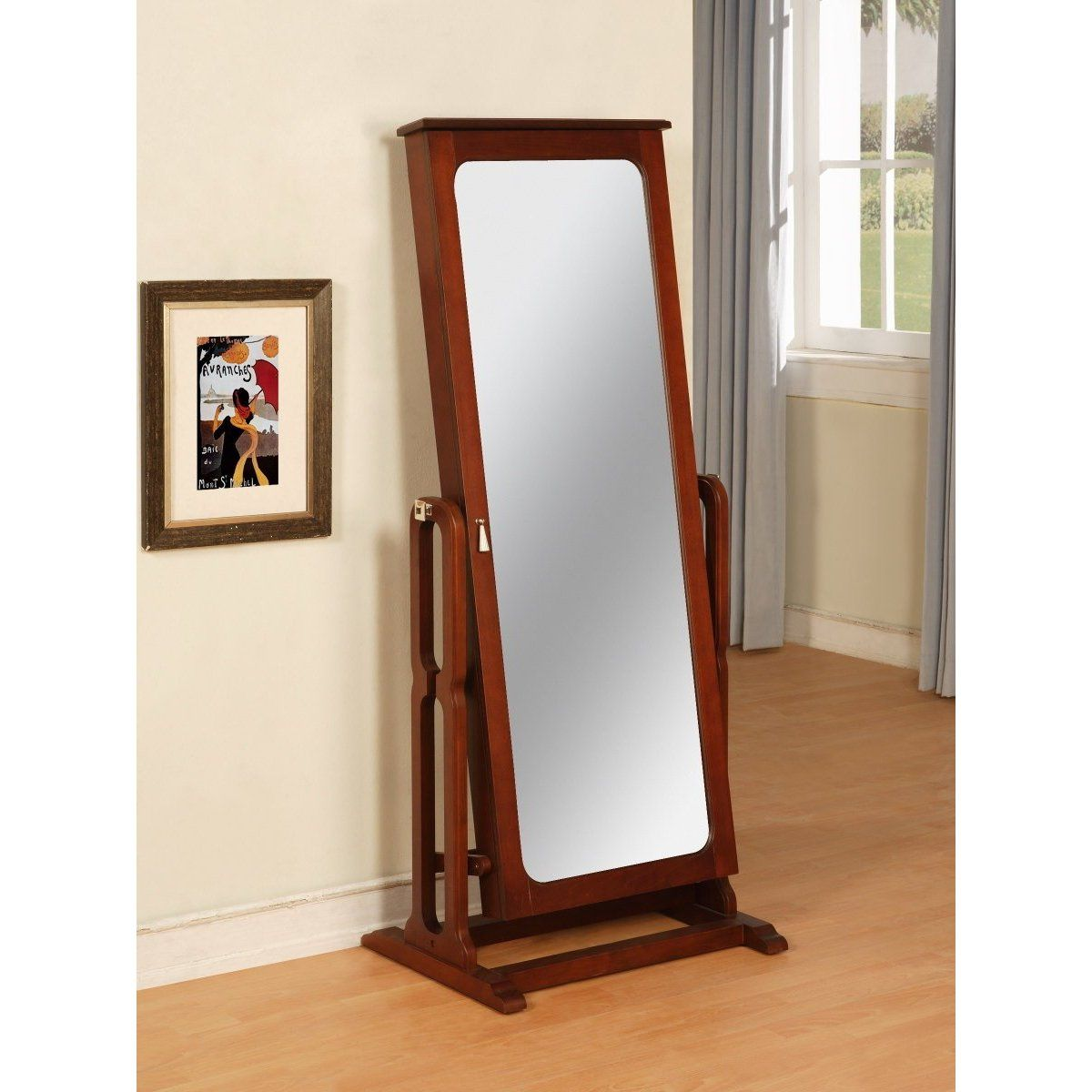solid wood cherry storage jewelry wardrobe floor cheval mirror floor mirror. Black Bedroom Furniture Sets. Home Design Ideas