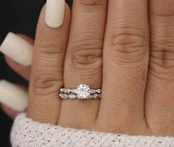 Bridal Ring Set, Moissanite White Gold Engagement Ring, Round 6mm Moissanite Ring, Diamond Milgrain Band, Solitaire Ring, Promise Ring