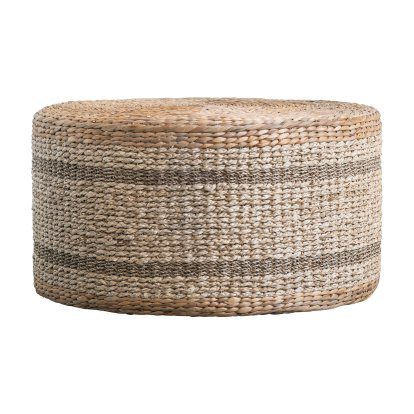 3r Studios Striped Round Water Hyacinth And Seagrass Coffee Table