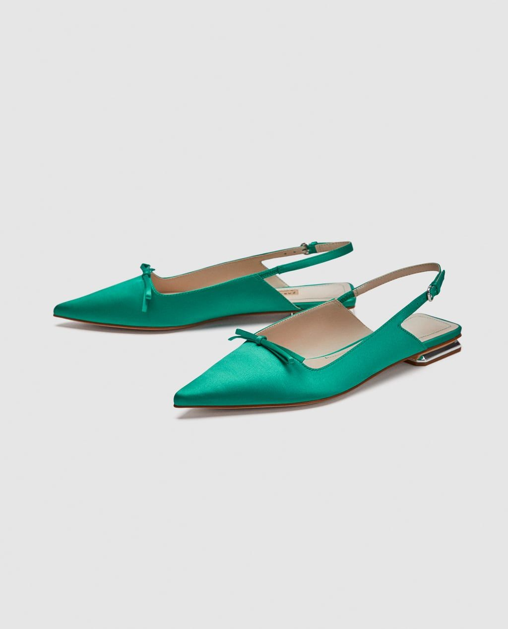 Flat Slingback Shoes With Bow Detail From Zara Flat Slingback Shoes Shoes Slingback Shoes
