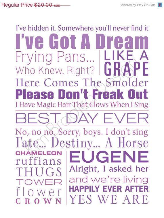 ON SALE Disney's Tangled Movie Quote Subway by KimBradicaDesign
