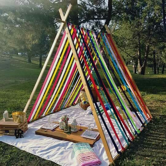 Teepee make over using ribbons or old tshirt stretchy material     MyKingList com is part of Picnic birthday -