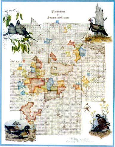 Map Of Georgia Plantations.1993 Southwest Georgia Plantation Map Rena Divine Plantation Map