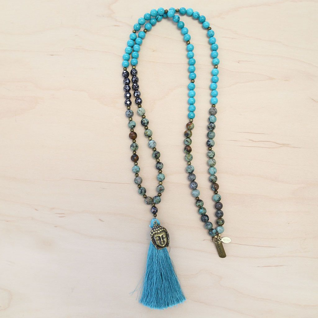 African Turquoise Semi-Precious Tassel Necklace
