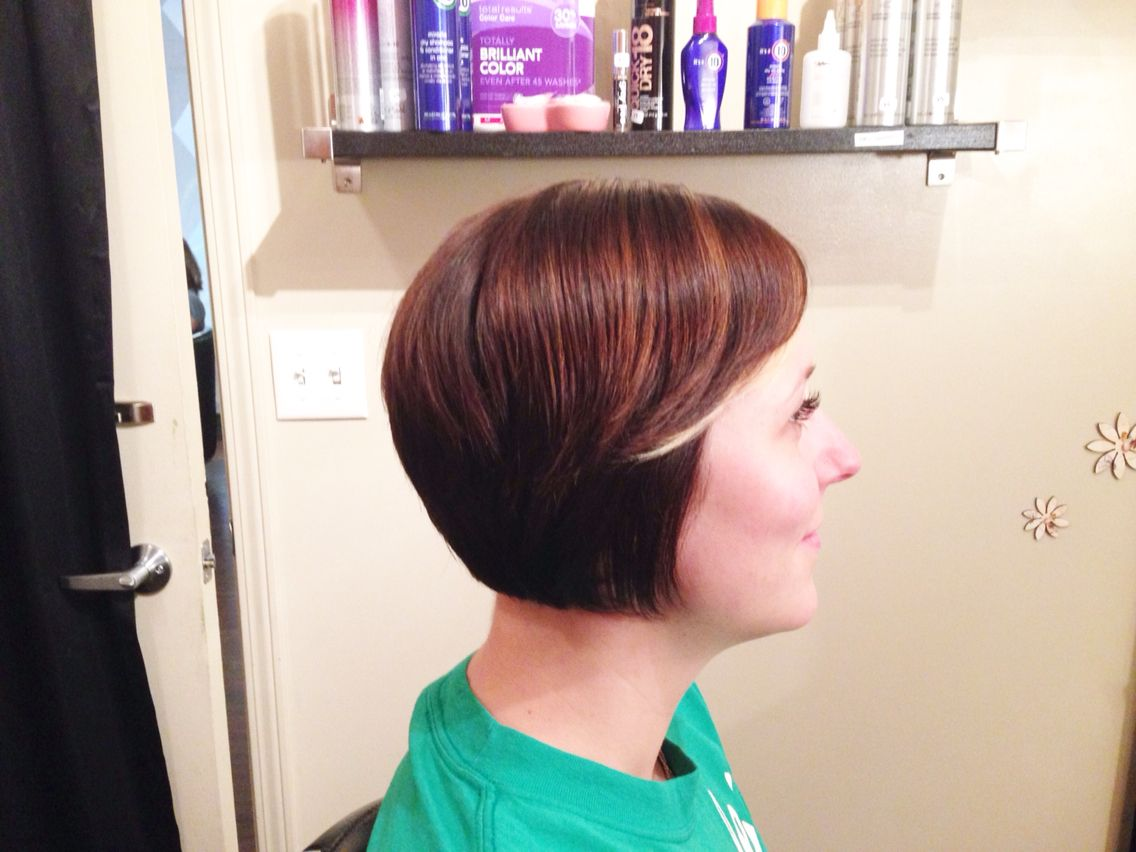 Fun brown tones with a blonde piece in front short hair hair