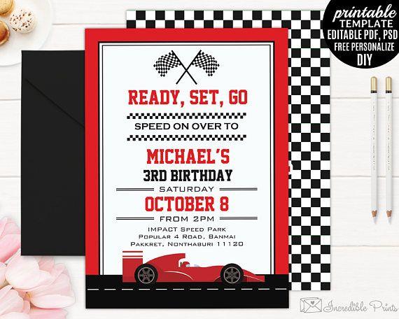Race Car Birthday Invitation Boy Invitation Bd100 Birthday Fun