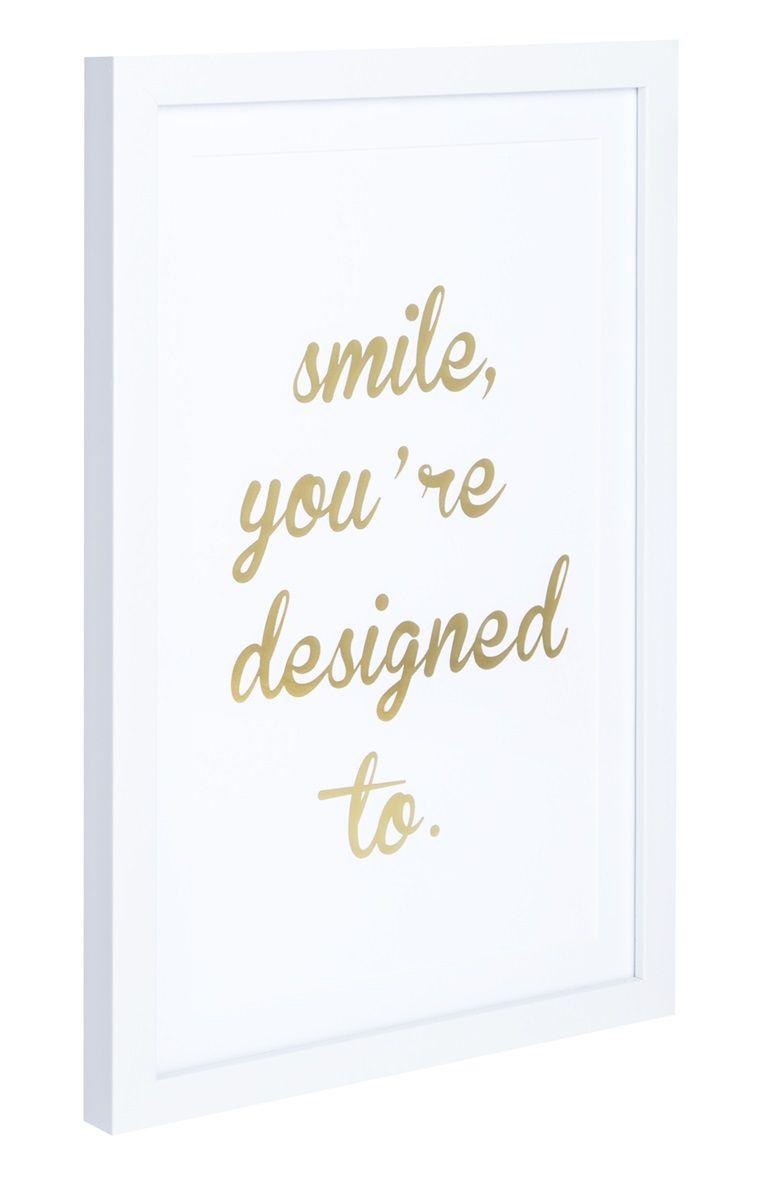 Cuadro con marco blanco y cita «Smile» | primark things | Pinterest ...