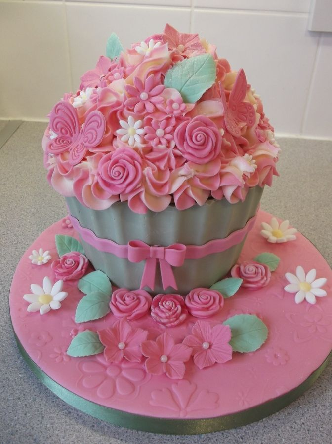 Big Cupcake Images : Vanilla giant cupcake, with 2 tone frosting and pink ...