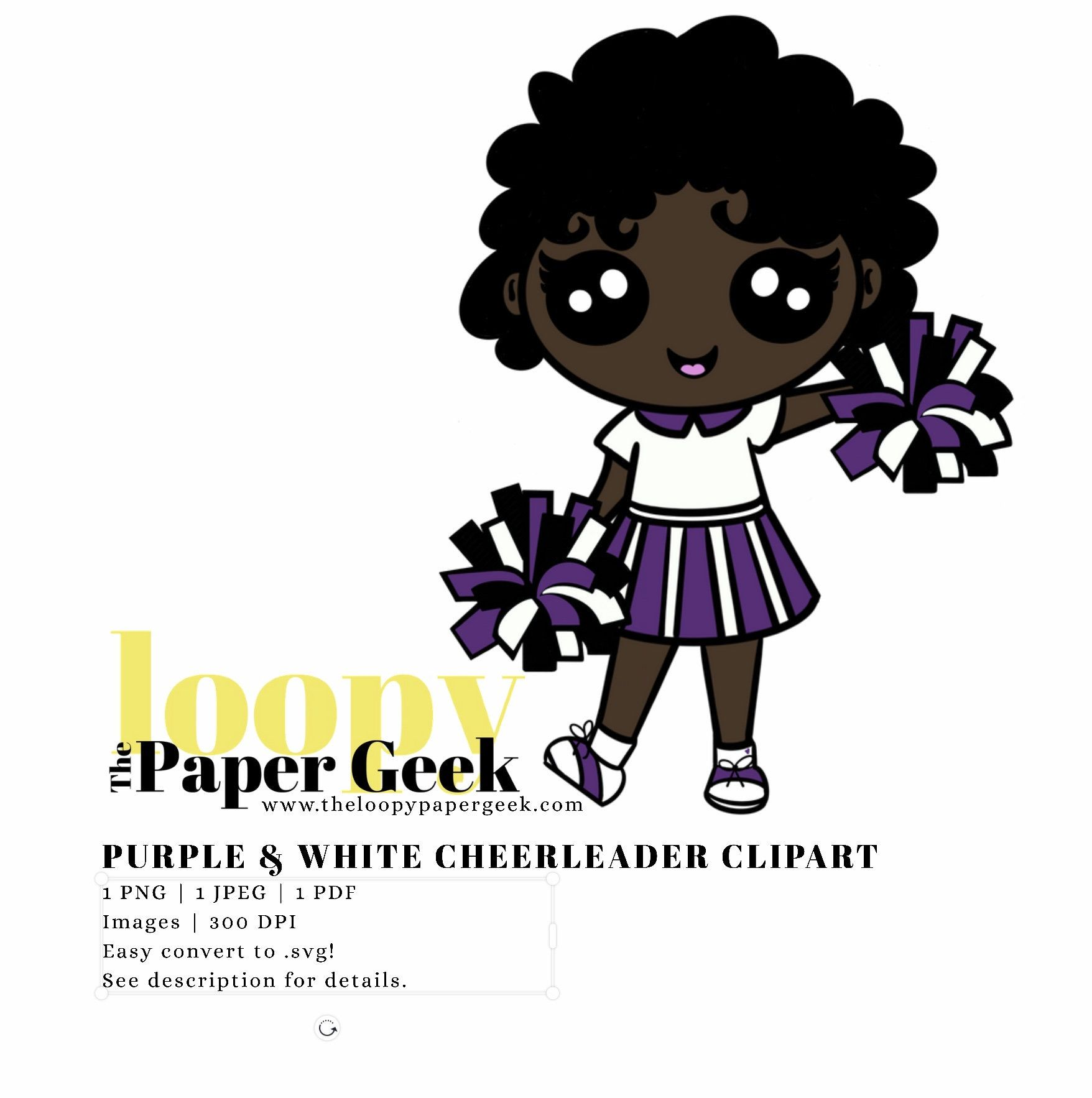 Purple and White Cheerleader ClipArt Illustration Easy