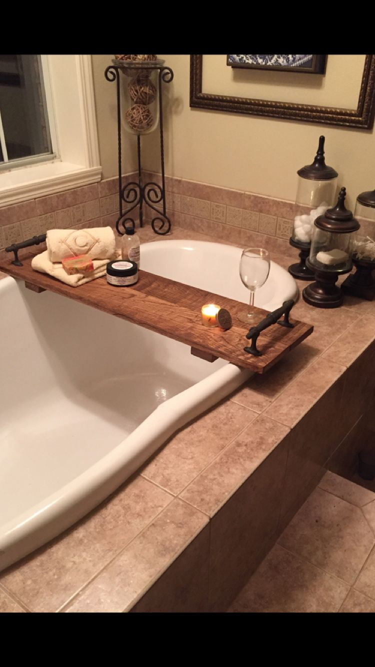 Stained Oak Tray For The Garden Tub With Images Bathtub Decor