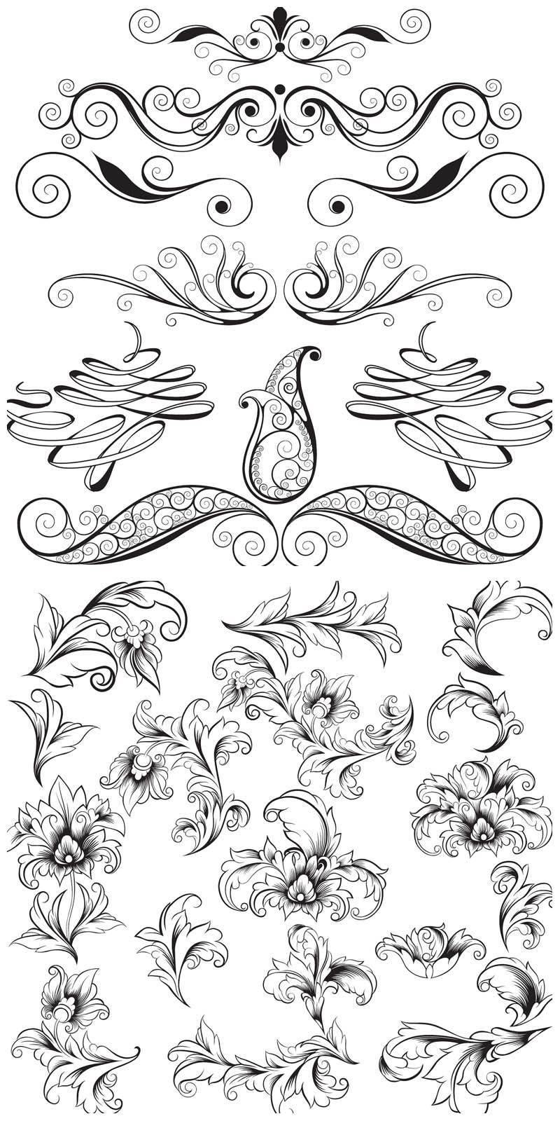 Wedding ornaments - 2 Sets Of Vector Vintage Decor Elements For Your Ornaments Classic Cards Wedding Invitations