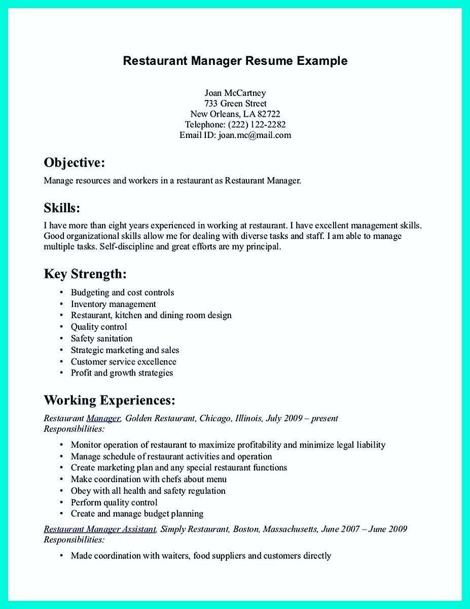 Customer Service Manager Resume Restaurant Manager Resume