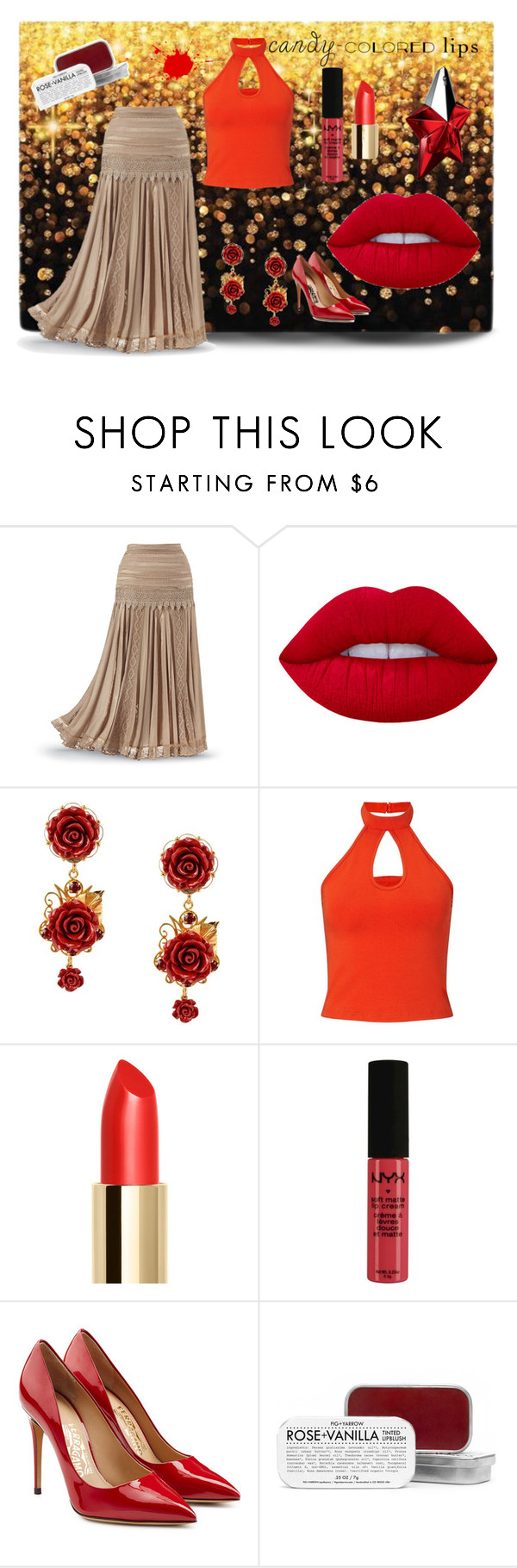 """""""Ruby Red"""" by angel-in-waiting on Polyvore featuring beauty, Lime Crime, Dolce&Gabbana, Miss Selfridge, NYX, Salvatore Ferragamo, Fig+Yarrow and Thierry Mugler"""