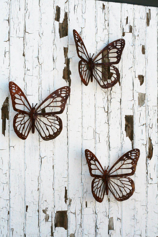 Giant Rustic Metal Monarch Butterflies Wall Decor Set Of 3 Metal Butterfly Wall Art Metal Art Scrap Metal Art