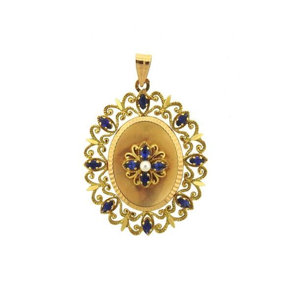 French 18k Gold Pearl Blue Stone Pearl Locket Pendant Featured in our upcoming auction on November 3!