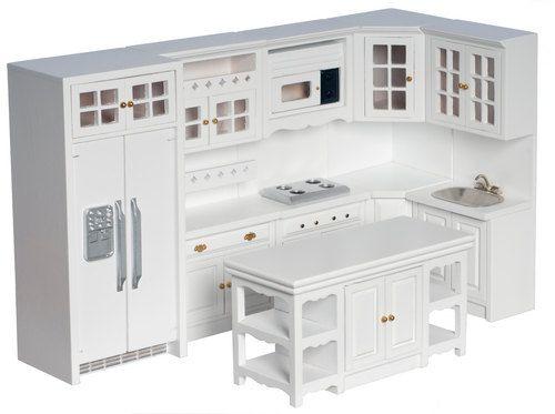 Dollhouse Miniature Modern kitchen set 8pc New by Fineminiatures