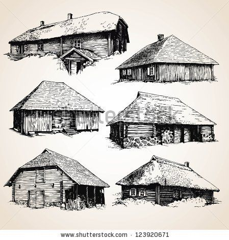 Amazing Drawings Of Old Wooden Buildings