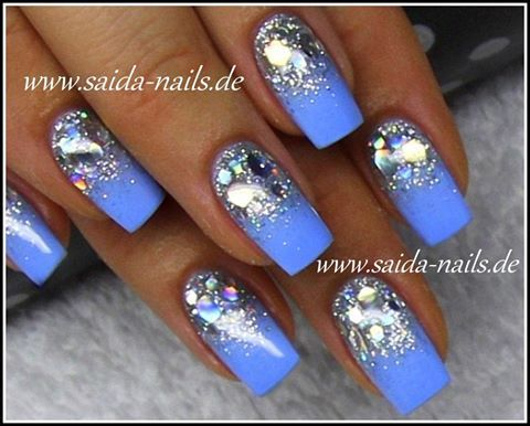 paznokcie  lily nails bridal nails blue nails