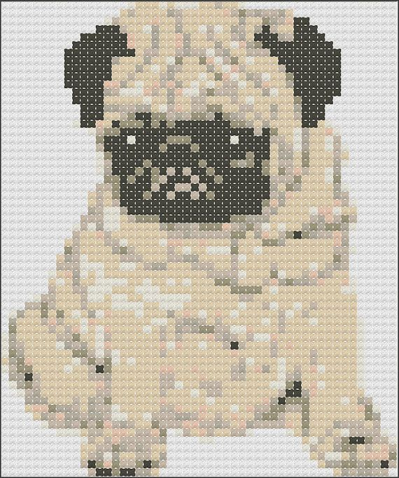 Pug Cross stitch / Knitting chart - Easy # 2 | Pug, Correo y Bloques