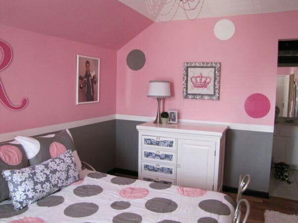 Bright Pink And Dark Grey Girls Room Design Girls Bedroom Grey Pink Bedroom For Girls