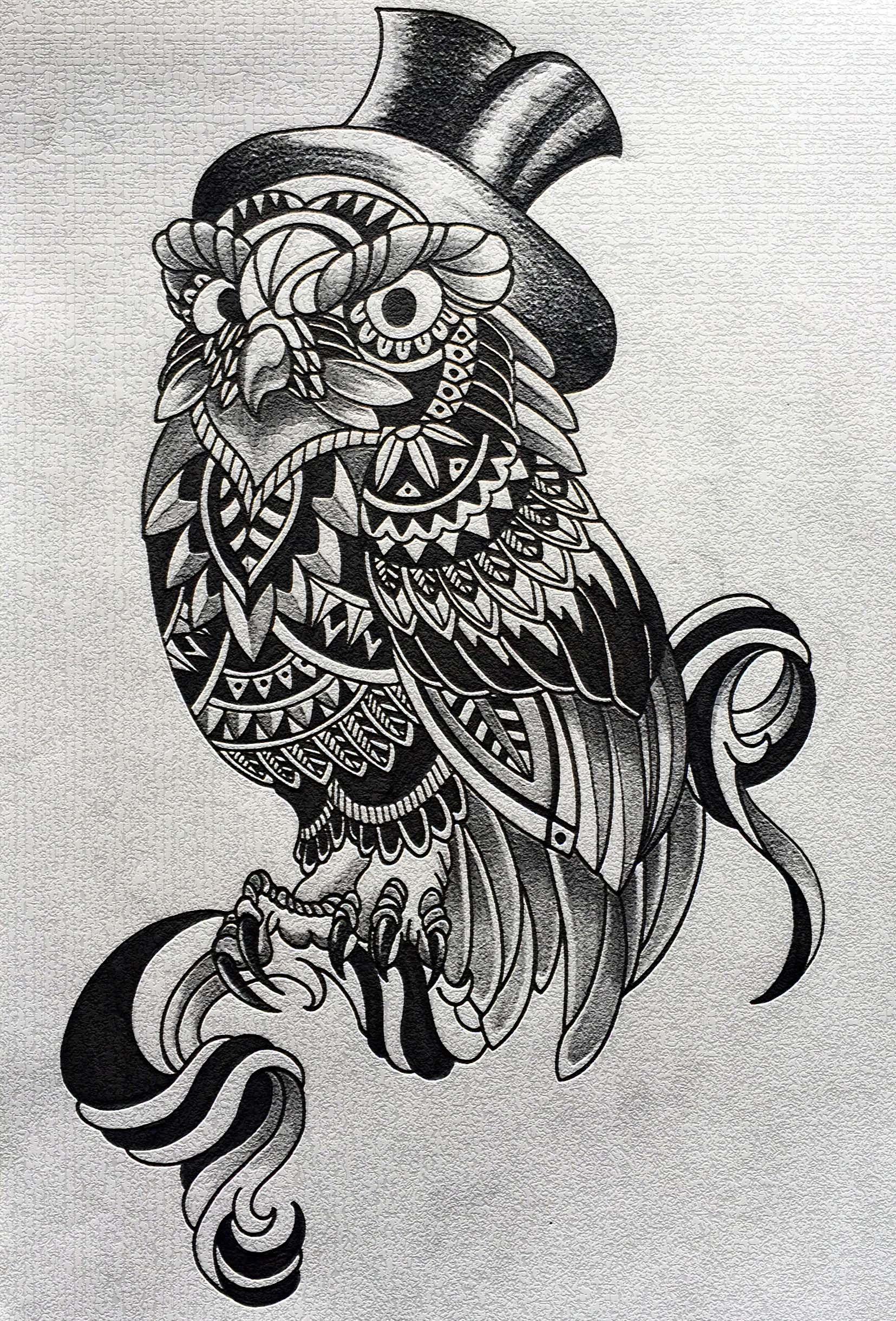 フクロウ タトゥー 刺青 トライバル デザイン owl tattoo tribal design