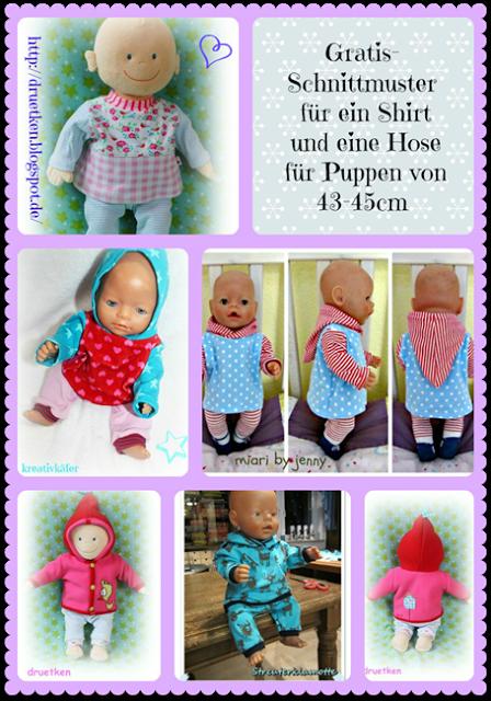 gratis Schnittmuster für Puppenkleidung (Shirt, Kaputze, Hose ...