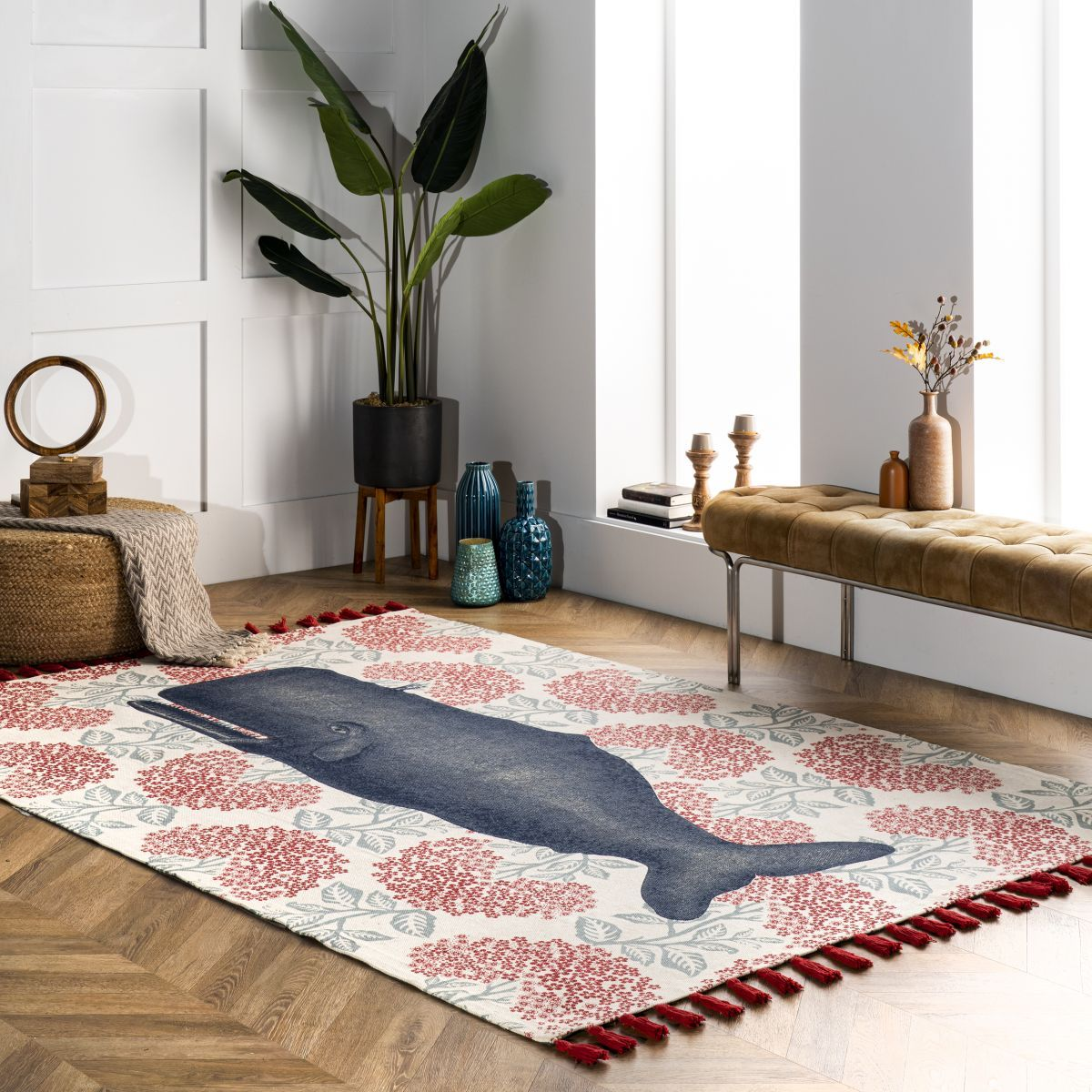 Thomas Paul Printed Flatweave Cotton Fabled Whale Multi Rug