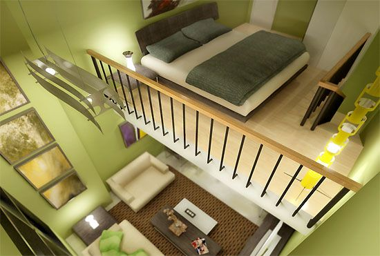 Bed Loft Type Apartment Bedroom Loft Loft Living Condo Living Room
