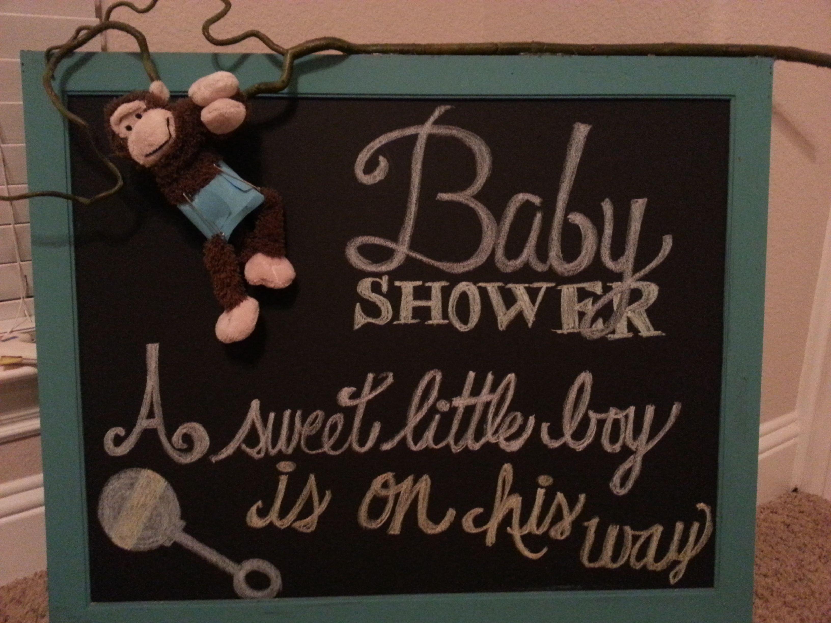 Baby Boy Shower Decor Painted Teal Frame Black Poster Board