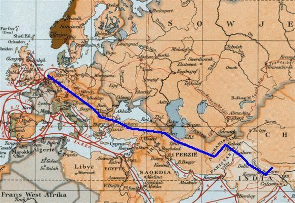 The Hippie Trail in a map: Running through Turkey, Iran