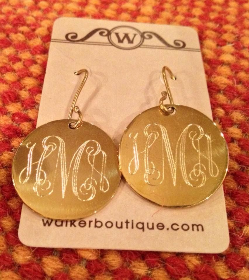 These Make The Perfect Gift For Women Of All Ages Everyone Loves To Wear Their Monogram And We Engraved Earrings Monogrammed Earrings Vinyl Monogram Earrings