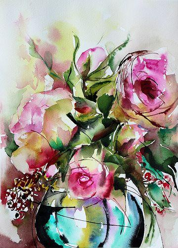 Chabada Flower Art Floral Watercolor Watercolor Flowers