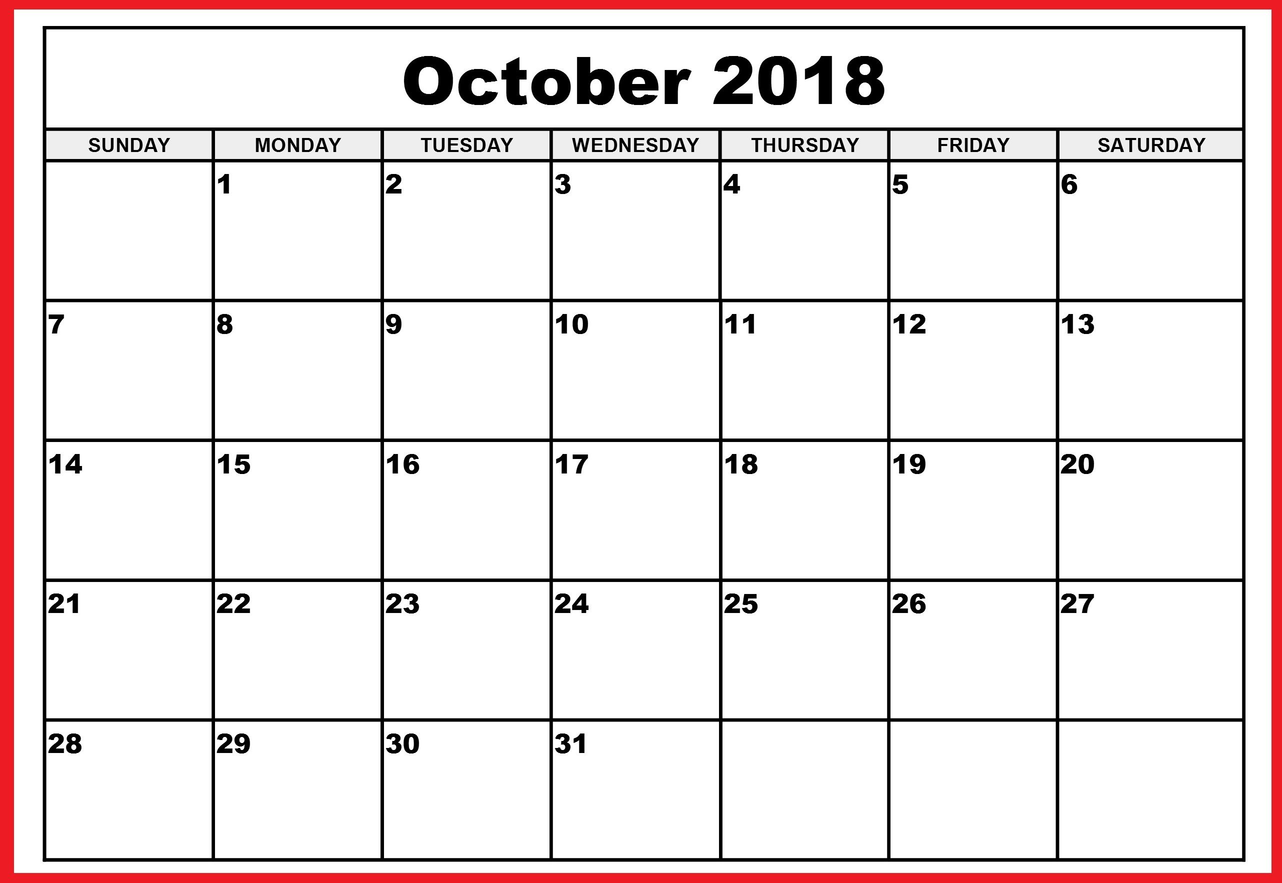 graphic about Free Printable Calendars October identify Oct Thirty day period 2018 Printable Calendar Oct 2018