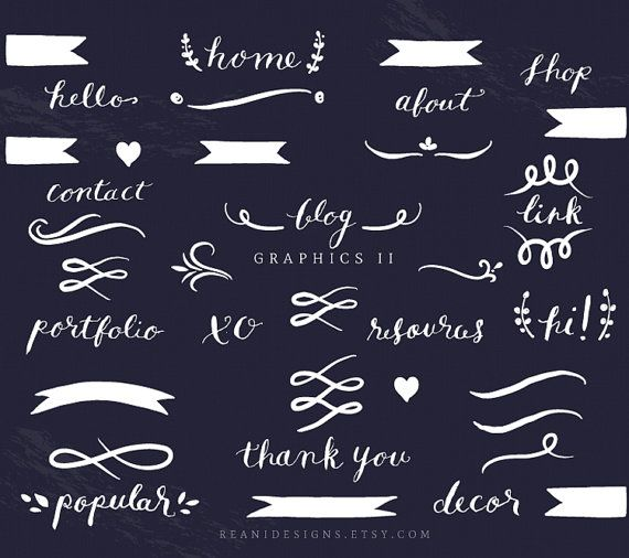 Blog and Web Graphics Clip Art - Hand Written Word Text Divider