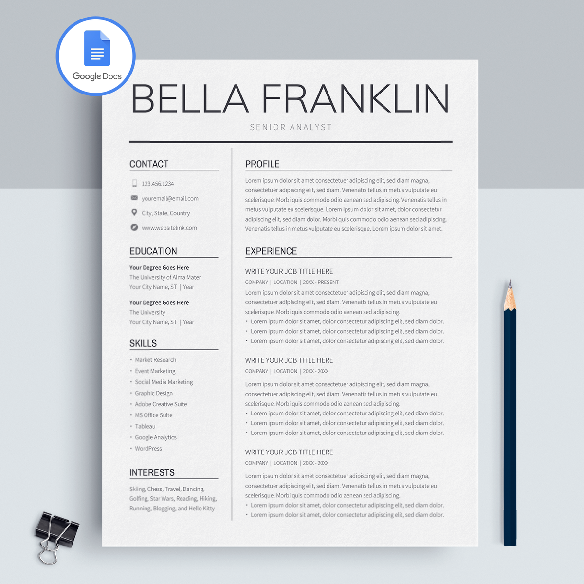 Bella Franklin Google Docs Resume Template Cv Template Cv Template Resume Template Resume Tips