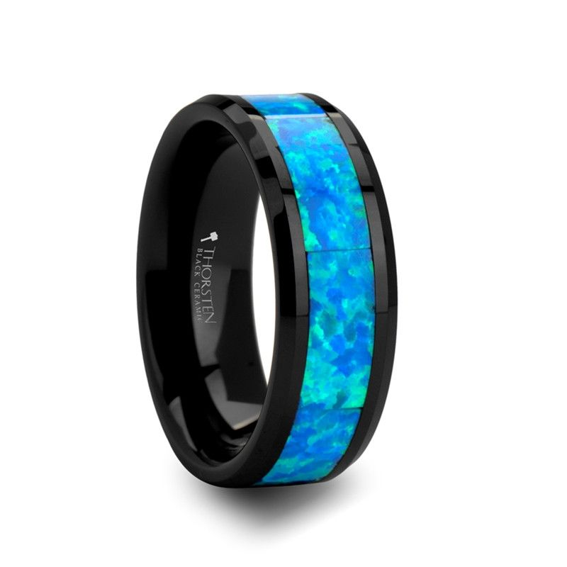 POSEIDON Mens Black Ceramic Wedding Band with Blue Opal Inlay