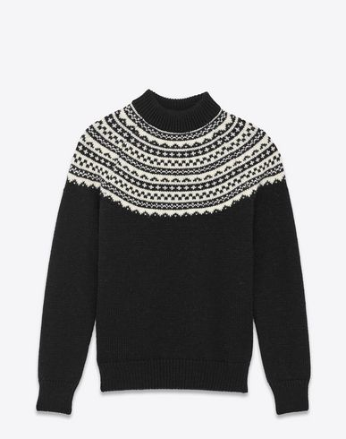 202268cffc3c9d SAINT LAURENT Classic Fair Isle Mock Turtleneck Sweater In Black And Ivory  Wool. #saintlaurent #cloth #