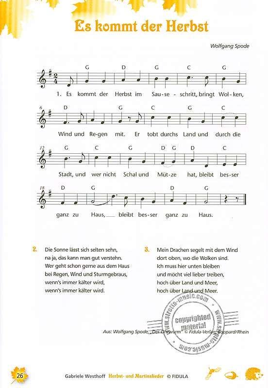 Herbst- und Martinslieder von Gabriele Westhoff   im Stretta Noten Shop kaufen #musicsongs