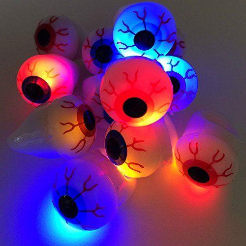 12-Pieces Halloween Flash Light Eyeball Ring Kid Party Favor Supply Bag Prop Gift; $13.60