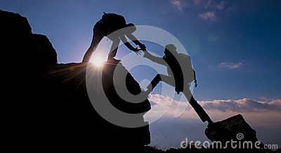 Climber helping