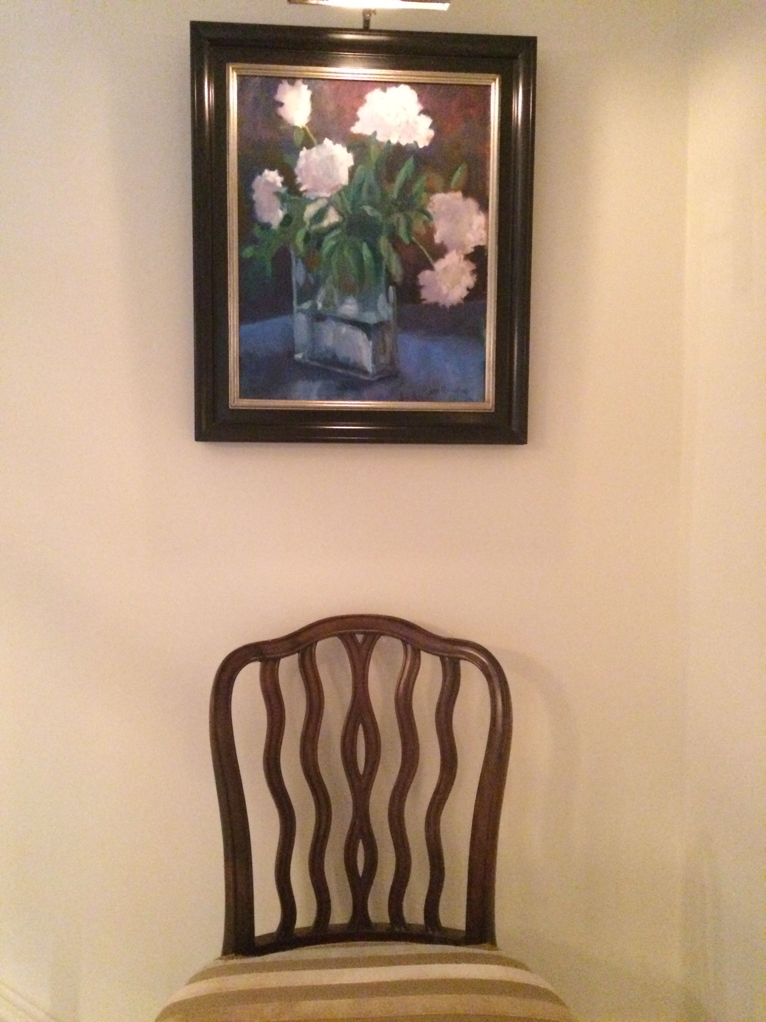 Painting By Jo Rankin, Chairs 18th Century Antique With Vintage Clarence  House Stripe Velvet.