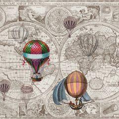 Hot Air Balloon Steampunk Shower Curtain