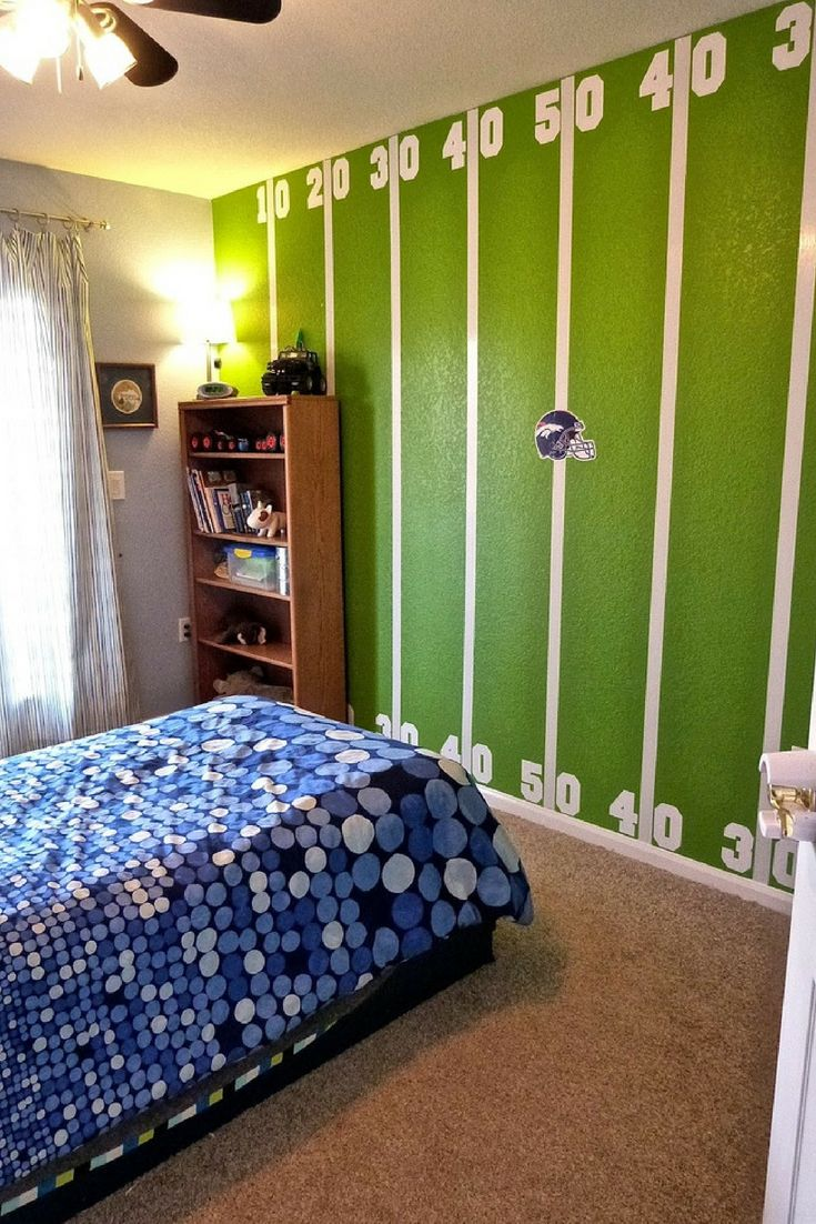 Breathtaking American Football Themed Kids Room Design This Wall