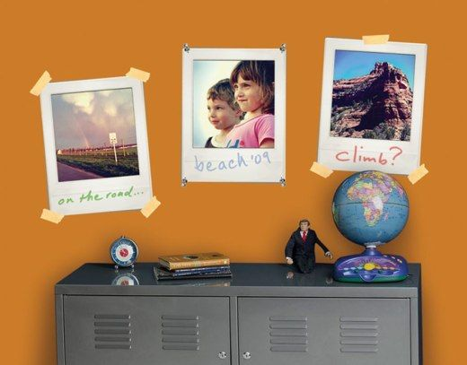 Polaroid-style frames - allow you to add messages/team names under images